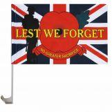 Union Jack Poppy Remembrance Car Flag